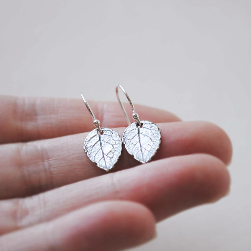 Unique handmade silver leaf earrings