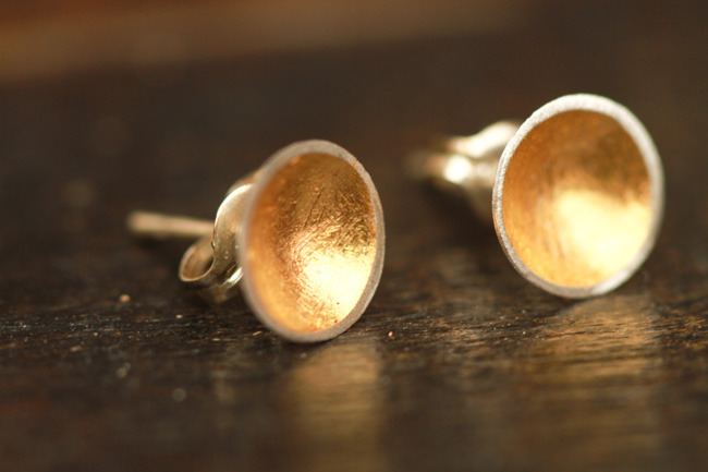 Handmade gold and silver dome earrings