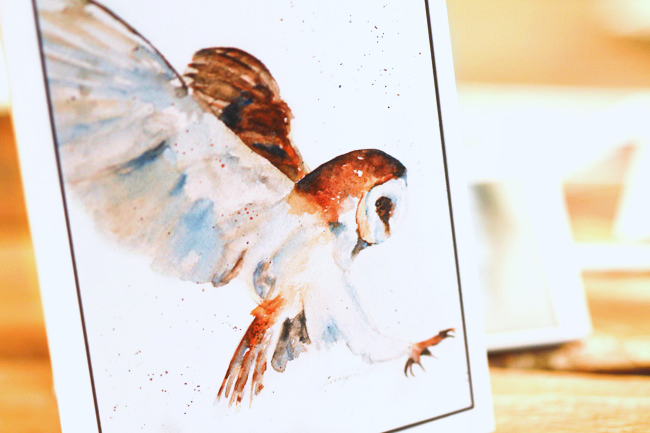 Handmade Stationery - Watercolor Owl