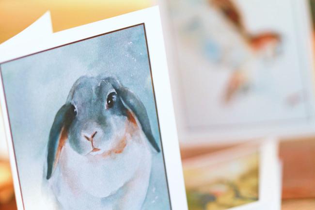 Handmade Stationery - Watercolor Rabbit