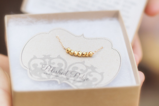 Handmade gold nugget necklace