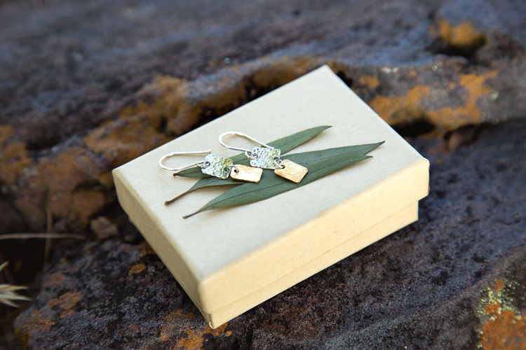 Hammered square earrings {The Thyme subscription}