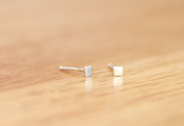 Silver square stud earrings - handmade jewelry present