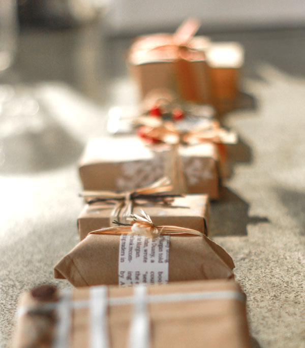 Organic gift wrapping from Fair Ivy (which sends a surprise gift box every month)