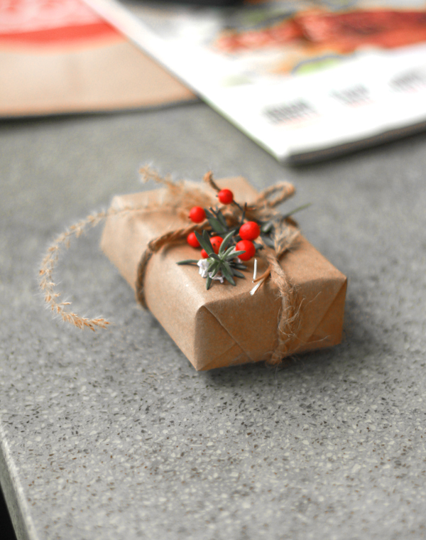 Organic gift wrapping using leaves and natural embellishments