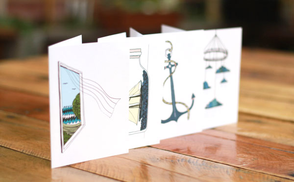 Stationery themed card set - handmade
