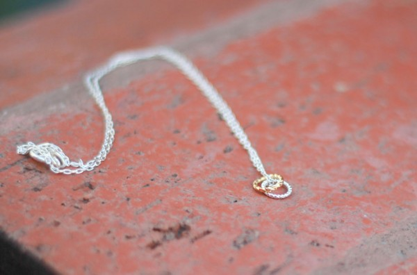 Gold and silver rings necklace - handmade jewelry gifts