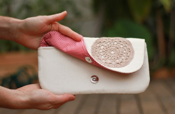 Handmade lace doily purse
