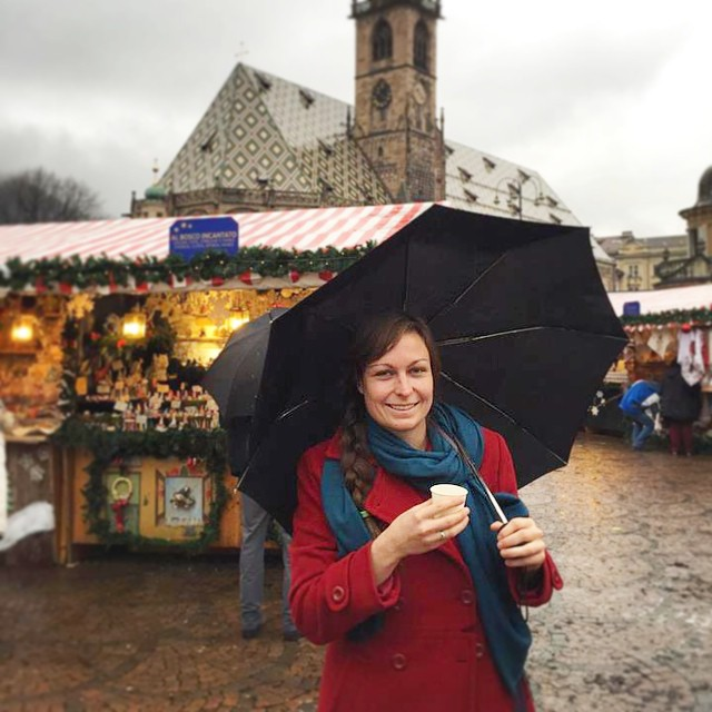 Exploring some handcrafts at a Christmas market....mulled wine in hand, of course :)