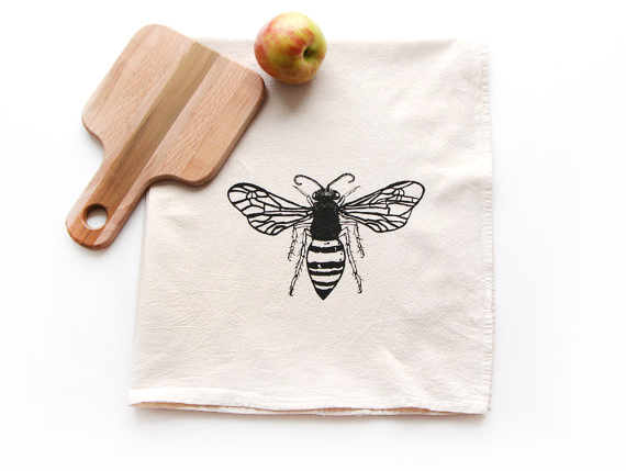 Value of Handmade : Handmade bee tea towel