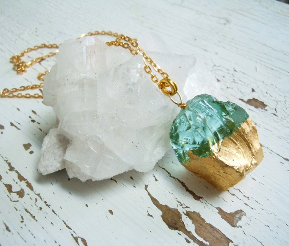Blue Quartz natural handmade necklace with gold
