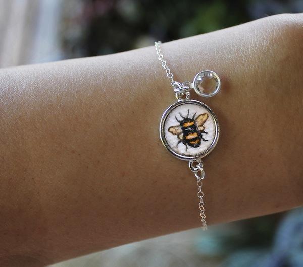 Handmade Hand Painted Bumblebee bracelet