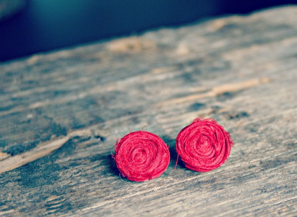 Handmade Rolled Rosebud Earrings