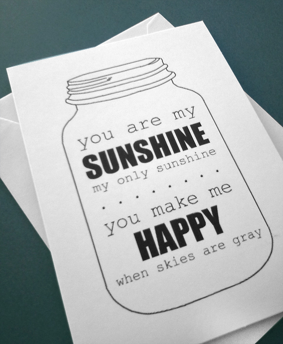 Handmade You Are My Sunshine Print